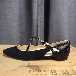 Nine West Leather Flats 7 Black Ballet Pointed